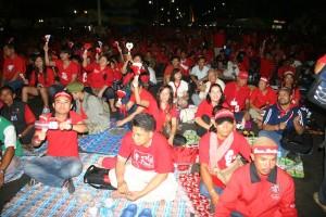 Red shirts at Pan Fa Bridge